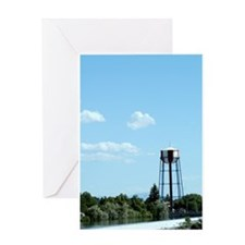 Water Tower - Blue Greeting Card