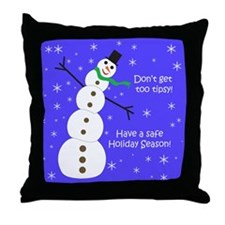 Tipsy Snowman Throw Pillow