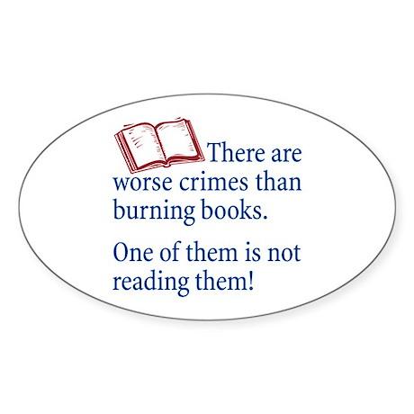 Book Burning - Oval Sticker