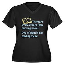 Book Burning - Women's Plus Size V-Neck Dark T-Shi