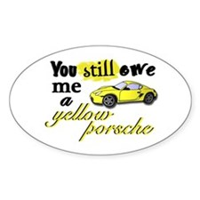 Yellow Porsche Oval Stickers