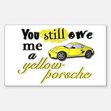 Yellow Porsche Rectangle Decal