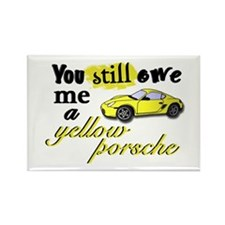 Yellow Porsche Rectangle Magnet