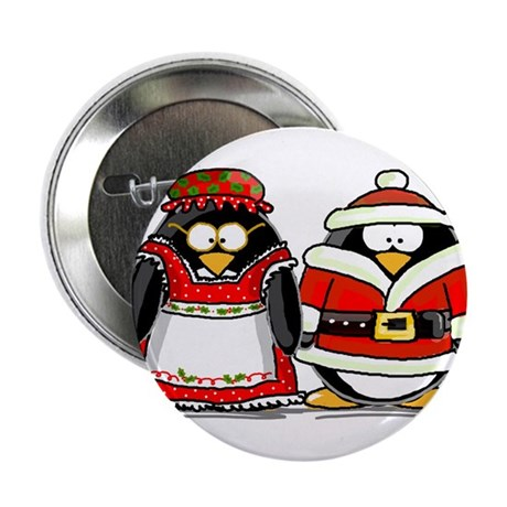 """Mr. and Mrs. Claus Penguins 2.25"""" Button"""