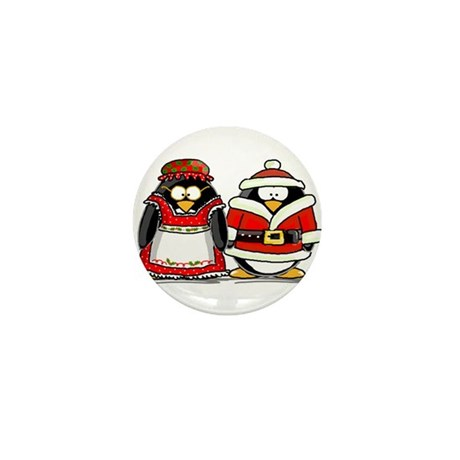 Mr. and Mrs. Claus Penguins Mini Button