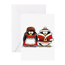 Mr. and Mrs. Claus Penguins Greeting Cards (Pk of