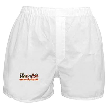 Merry Christmas Penguins Boxer Shorts