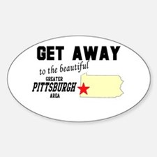 Get Away to the Beautiful Gre Oval Decal