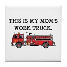 Mom's Fire Truck Tile Coaster