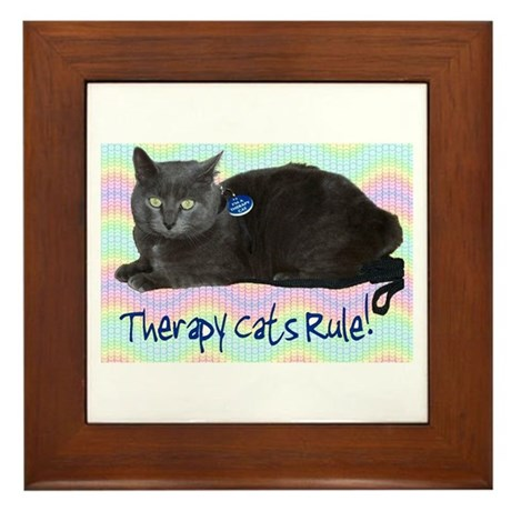 """""""Therapy Cats Rule!"""" Framed Tile"""