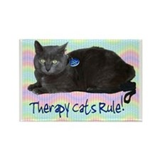"""Therapy Cats Rule!"" Rectangle Magnet"