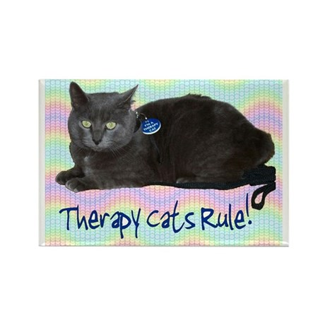 """""""Therapy Cats Rule!"""" Rectangle Magnet (10 pack)"""