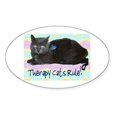 """Therapy Cats Rule!"" Oval Decal"
