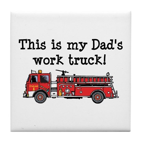 My Dad's Fire Truck Tile Coaster