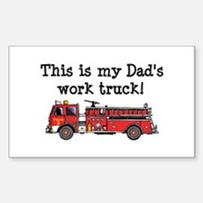 My Dad's Fire Truck Rectangle Decal