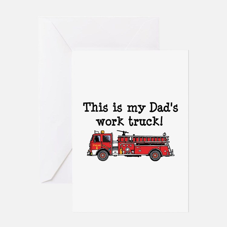 My Dad's Fire Truck Greeting Card
