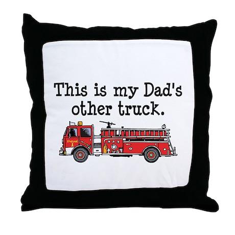 Dads Firetruck Throw Pillow