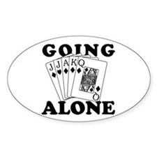 Euchre Going Alone/Loner Oval Decal