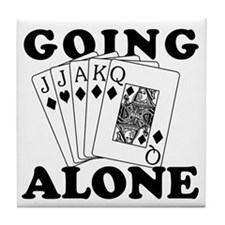 Euchre Going Alone/Loner Tile Coaster