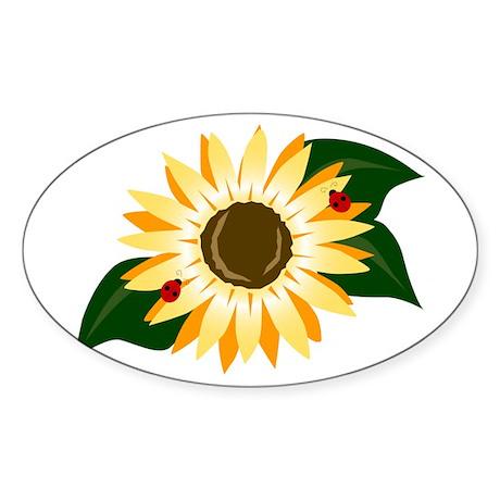 Sunflower & Ladybugs Oval Sticker