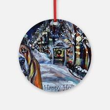 Basset Hound Holiday Ornament (Round)