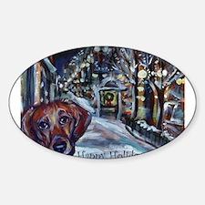 Dachshund Holiday Oval Sticker (10 pk)