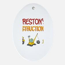 Preston's Construction Tracto Oval Ornament