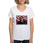 Reagan on Liberal Ignorance Women's V-Neck T-Shirt