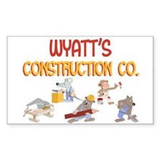 Wyatt's Construction Co. Rectangle Decal