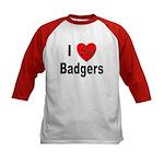 I Love Badgers (Front) Kids Baseball Jersey