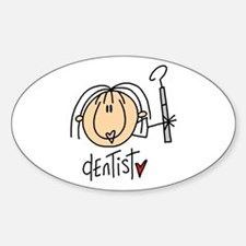 Female Dentist Oval Sticker (10 pk)