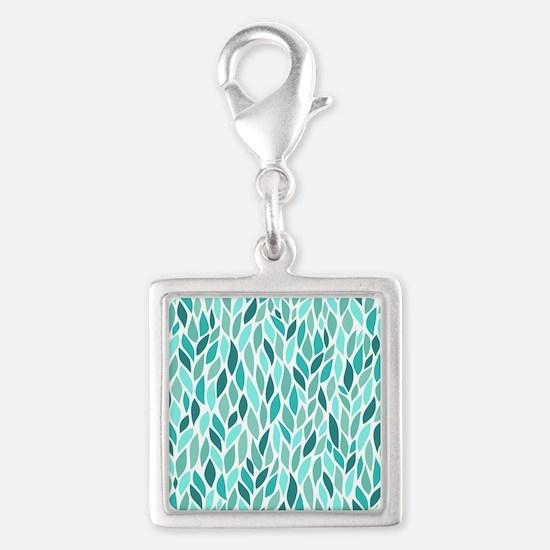 Mosaic Pattern Silver Square Charm