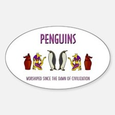 Ancient Penguins Oval Decal