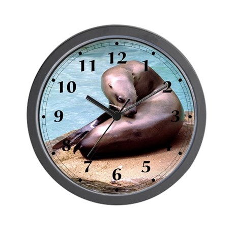 Sea Lion with an Itch Wall Clock