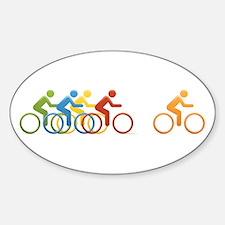 Cyclist Oval Sticker (10 pk)