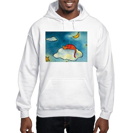 sleeping cloud cat with moon Hooded Sweatshirt