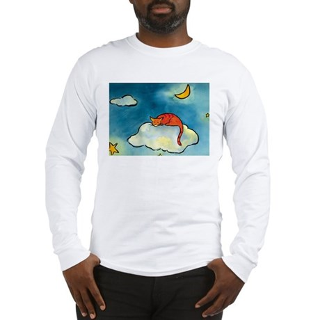 sleeping cloud cat with moon Long Sleeve T-Shirt