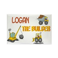 Logan the Builder Rectangle Magnet