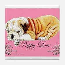 Puppy Love Bulldog Tile Coaster