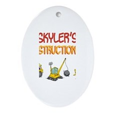 Skyler's Construction Tractor Oval Ornament