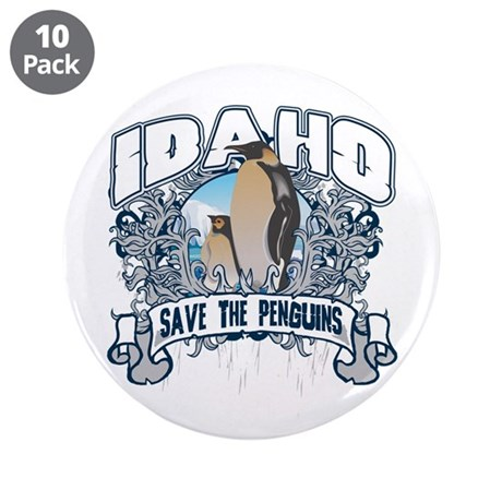"""Save the Penguins Idaho 3.5"""" Button (10 pack)"""