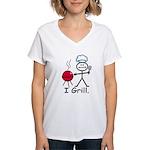 Grilling Stick Figure Women's V-Neck T-Shirt