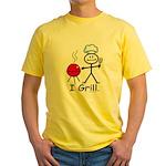 Grilling Stick Figure Yellow T-Shirt