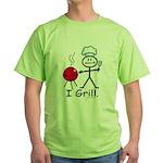 Grilling Stick Figure Green T-Shirt