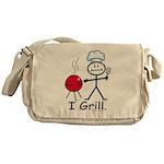 Grilling Stick Figure Messenger Bag
