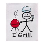 Grilling Stick Figure Throw Blanket