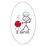 Grilling Stick Figure Sticker (Oval 10 pk)