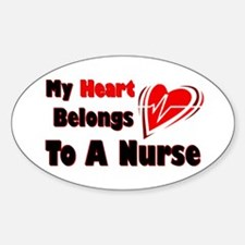 My Heart Nurse Oval Decal