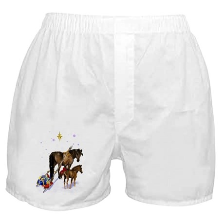 Christmas Mare and Colt Boxer Shorts