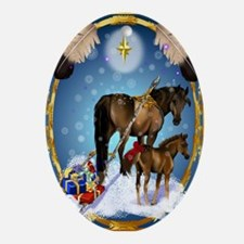 Christmas Mare and Colt Oval Ornament